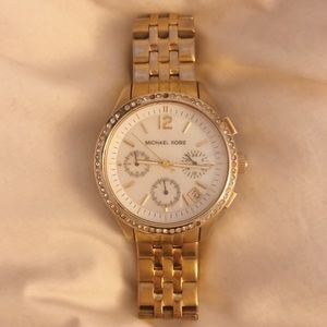 Michael Kors gold pave watch
